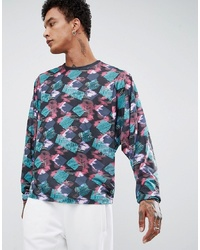 2362593f9235 ... of stock · ASOS DESIGN Batwing Long Sleeve T Shirt With All Over Retro  Geo Print