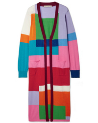 Mary Katrantzou Peyton Color Block Wool Cardigan