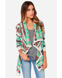 Moon Collection Southwest Ing Game Peach Print Cardigan Sweater