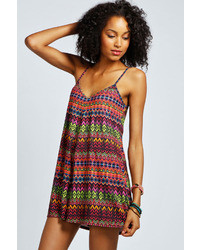 Boohoo Mai Bright Aztec Strappy Swing Playsuit