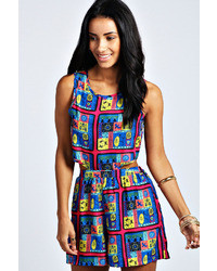 Boohoo Sally Aztec Print Cut Out Playsuit