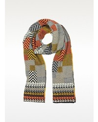 Multicolor geometric wool woven scarf medium 117022