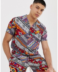 New Look Co Ord Revere Shirt In Aztec Print
