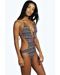Boohoo Malawi Neon Aztec Cut Out Swimsuit