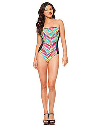 Anne Cole Tribal Stripe Bandeau One Piece