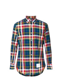 Thom Browne Classic Long Sleeve Poplin Shirt In Gingham And Buffalo Check