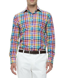 Etro Rainbow Gingham Sport Shirt Multi