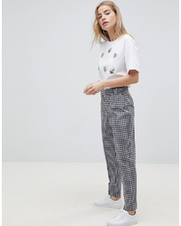 ASOS DESIGN Tailored Gingham Tapered Trouser With Belt And Detail