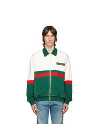 Gucci Off White And Red Zip Up Horsebit Sweatshirt