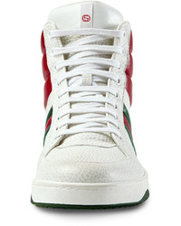 601659be1 Gucci Contrast Padded Leather High Top Sneaker White