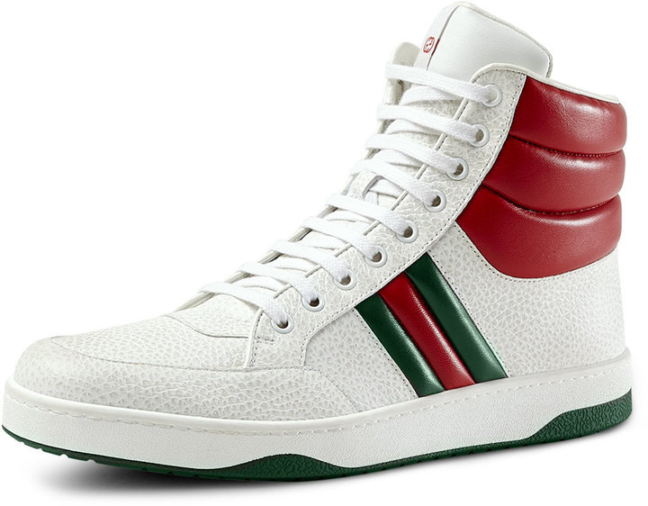 fbc3951ff92 Gucci Contrast Padded Leather High Top Sneaker White, $560 | Neiman ...