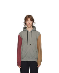 Comme des Garcons Homme Deux Grey And Red Colorblock Hoodie
