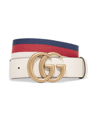 483e9409d30 Gucci Striped Canvas And Leather Belt