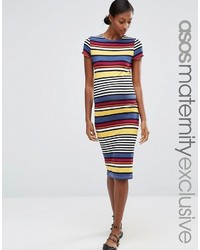 Maternity stripe midi bodycon dress with short sleeve medium 1252944