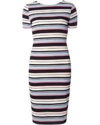 Multi coloured stripe v back bodycon dress medium 1252945