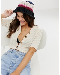 ASOS DESIGN Knitted Stripe Crochet Bucket Hat