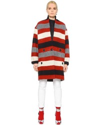 Etoile Isabel Marant Striped Boiled Wool Blend Coat