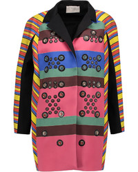 Peter Pilotto Hendrix Embellished Striped Crepe Coat