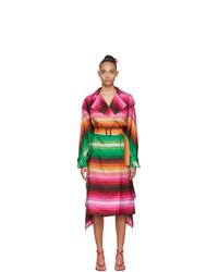 Valentino Multicolor Striped Silk Habotai Baiadera Coat