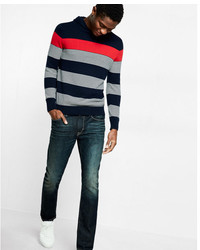 Express Cotton Multi Stripe Pullover Hooded Sweater