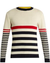 Crew neck striped wool sweater medium 1292750