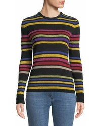 Etro Crewneck Metallic Multicolor Striped Knit Sweater