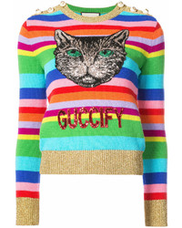 Gucci Embroidered Stripe Knit Sweater