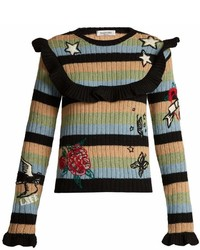 Valentino Embroidered Striped Ribbed Knit Wool Sweater