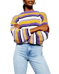 Topshop Fluffy Stripe Sweater