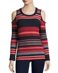 Laurence cold shoulder multi stripe ribbed top scarlet multi medium 3640373