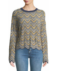 MiH Jeans Mih Arlo Zigzag Mini Stripes Crewneck Long Sleeve Merino Sweater