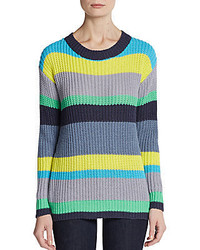 Minnie Rose Rainbow Striped Cotton Sweater