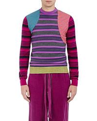 Loewe Mixed Stripe Wool Blend Patchwork Sweater