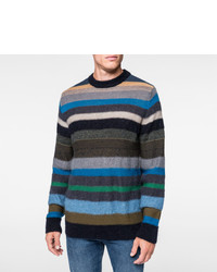 Paul Smith Merino Mohair Blend Muted Multi Stripe Sweater