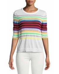 Milly Rainbow Stripe Pullover Sweater