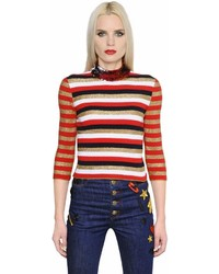 Sonia Rykiel Sequin Lurex Striped Knit Sweater