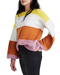Madewell Striped Balloon Sleeve Pullover Sweater