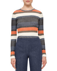 Akris Punto Stripe Ribbed Wool Sweater Multi