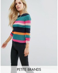 Noisy May Petite Multi Stripe Knitted Rib Sweater