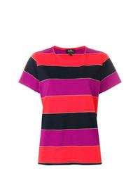 Multi colored Horizontal Striped Crew-neck T-shirt