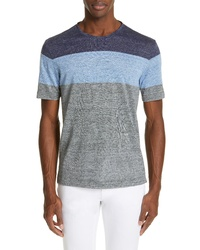 Z Zegna Colorblock Linen Crewneck T Shirt