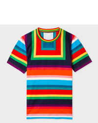 Paul Smith Multi Colour Mesh Stripe T Shirt