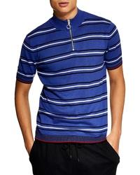 Topman Zip Mock Neck Classic Knit Shirt