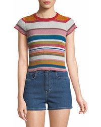 Rag & Bone Katie Striped Short Sleeve Cropped Tee