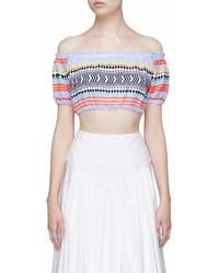 Lemlem Sofia Geometric Stripe Cropped Off Shoulder Top