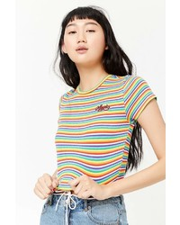 Forever 21 Striped Angel Graphic Crop Top