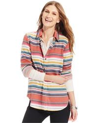 Multi colored Horizontal Striped Dress Shirt