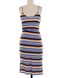 Multi colored Horizontal Striped Midi Dress