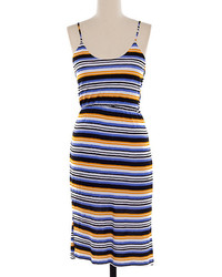 Purple orange stripe midi dress medium 1250982