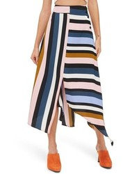Topshop Multi Stripe Asymmetric Midi Skirt